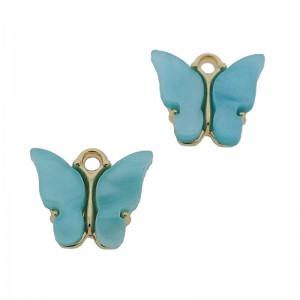 Bedel vlinder aqua goud 13x15mm
