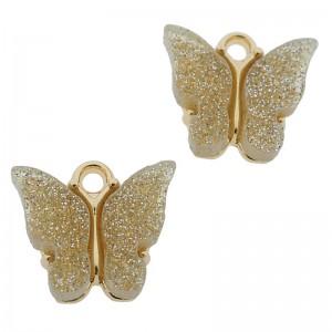 Bedel vlinder beige glitter goud 13x15mm