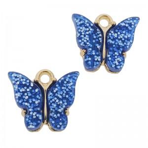 Bedel vlinder blauw glitter goud 13x15mm