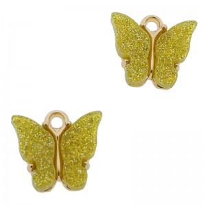Bedel vlinder geel glitter goud 13x15mm
