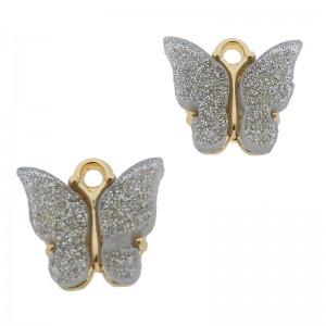 Bedel vlinder grijs glitter goud 13x15mm