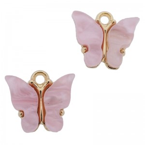 Bedel vlinder licht roze goud 13x15mm