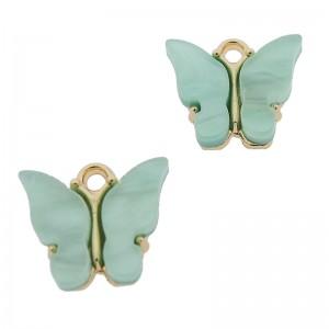 Bedel vlinder licht turquoise goud 13x15mm
