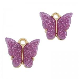 Bedel vlinder lila glitter goud 13x15mm