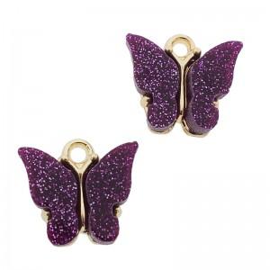 Bedel vlinder paars glitter goud 13x15mm