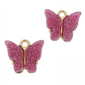 Bedel vlinder paars roze glitter goud 13x15mm