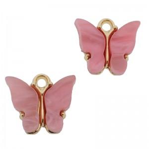 Bedel vlinder roze 2 goud 13x15mm