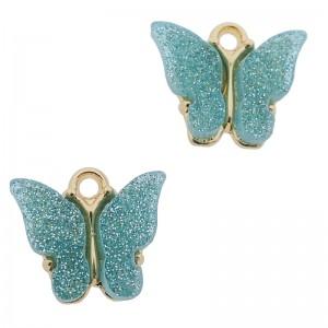 Bedel vlinder turquoise glitter goud 13x15mm