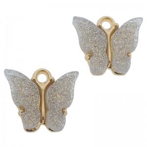 Bedel vlinder wit glitter goud 13x15mm