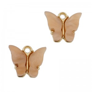 Bedel vlinder zalm roze goud 13x15mm