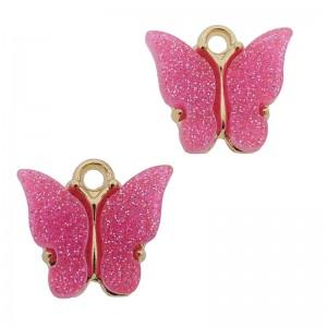 Bedel vlinder zuurstok roze glitter goud 13x15mm