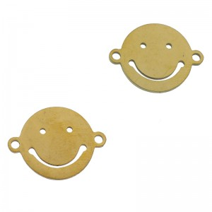 Bedel tussenzetsel smiley goud stainless steel 16mm
