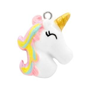 Bedel unicorn white rainbow pink 27x23mm