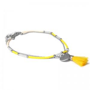 Biba enkelbandje dubbele ketting gele kraaltjes met kwastjes zilver