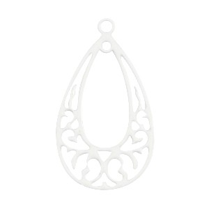 Bohemian bedel (hanger) druppelvorm 24x13mm white
