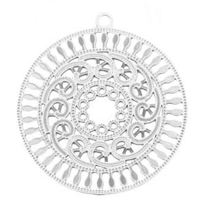 Bohemian hanger / bedel met oog rond 30mm zilver