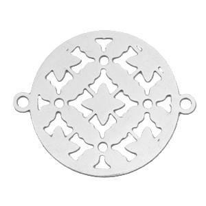Bohemian tussenzetsel / bedel rond 20mm zilver
