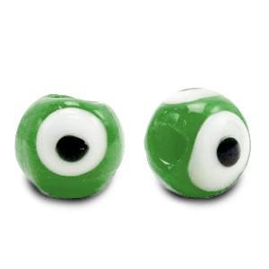 Boze oog glaskraal groen 6mm