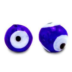Boze oog glaskraal kobalt blauw 6mm