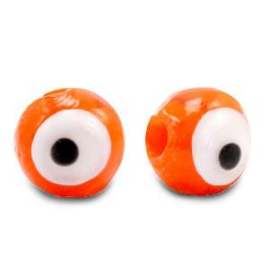 Boze oog glaskraal oranje 6mm