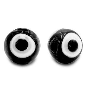 Boze oog glaskraal zwart 6mm