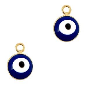 Boze oog hanger goud-blauw 9x6mm