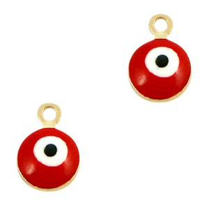 Boze oog hanger goud-rood 9x6mm