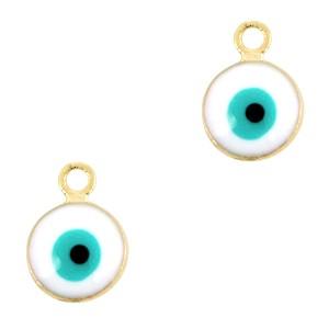 Boze oog hanger goud-wit 9x6mm