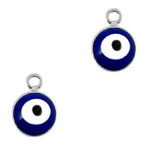 Boze oog hanger zilver-blauw 9x6mm