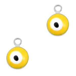 Boze oog hanger zilver-geel 9x6mm