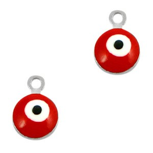 Boze oog hanger zilver-rood 9x6mm