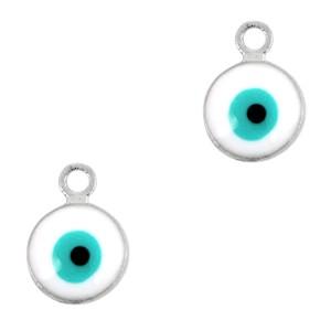 Boze oog hanger zilver-wit 9x6mm