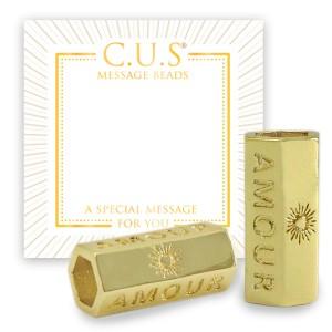 C.U.S® een message bead tussenstuk / tussenzetsel amour & hearts goud 21x11mm per stuk