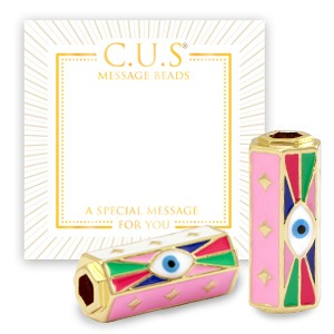 C.U.S® message beads evil eye pink goud 22x9mm per stuk