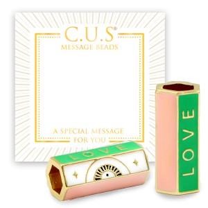 C.U.S® message beads love green goud 20x9mm per stuk