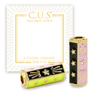 C.U.S® message beads stars black goud 22x9mm per stuk