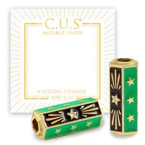 C.U.S® message beads stars green goud 22x9mm per stuk