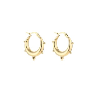 Chunky bali earring dots goud stainless steel 22x19mm