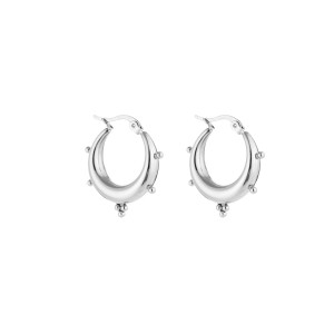Chunky bali earring dots zilver stainless steel 22x19mm