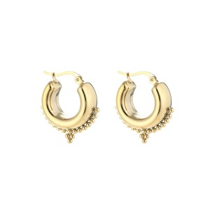 chunky bali earring goud stainless steel 20x16mm
