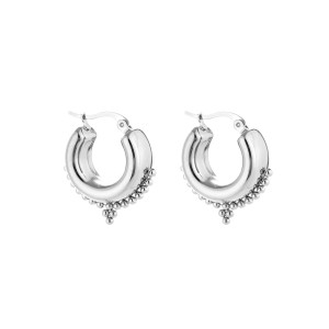 Chunky bali earring zilver stainless steel 20x16mm