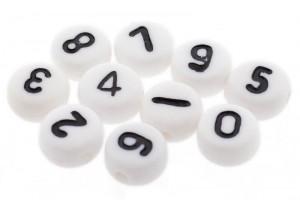 Cijferkralen rond 7mm wit (0-9)