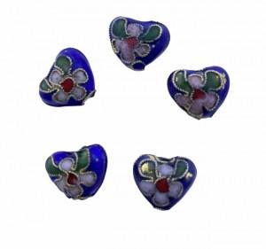 Cloisonne kraal hartje blauw 12mm