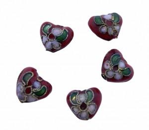 Cloisonne kraal hartje rood 12mm