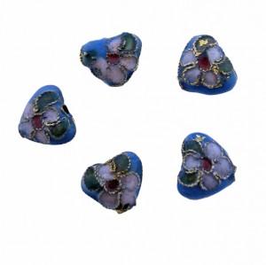 Cloisonne kraal hartje turquoise 12mm
