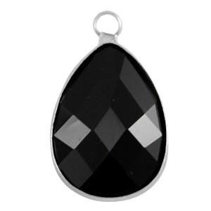 Crystal glas facet hanger druppel 13x18mm jet zwart / zilver