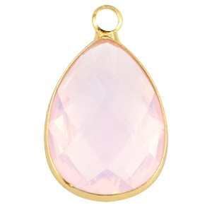 Crystal glas facet hanger druppel 13x18mm light rose opal / goud