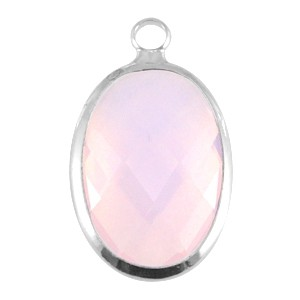 Crystal glas facet hanger ovaal 13x18mm light rose opal / zilver