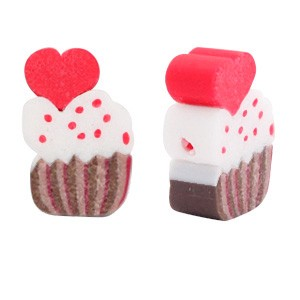 Cupcake kraal brown red 12x7mm (per stuk)