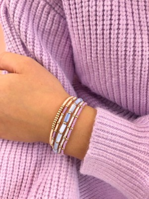 DIY pakket armbanden set lila lavendel shell beads